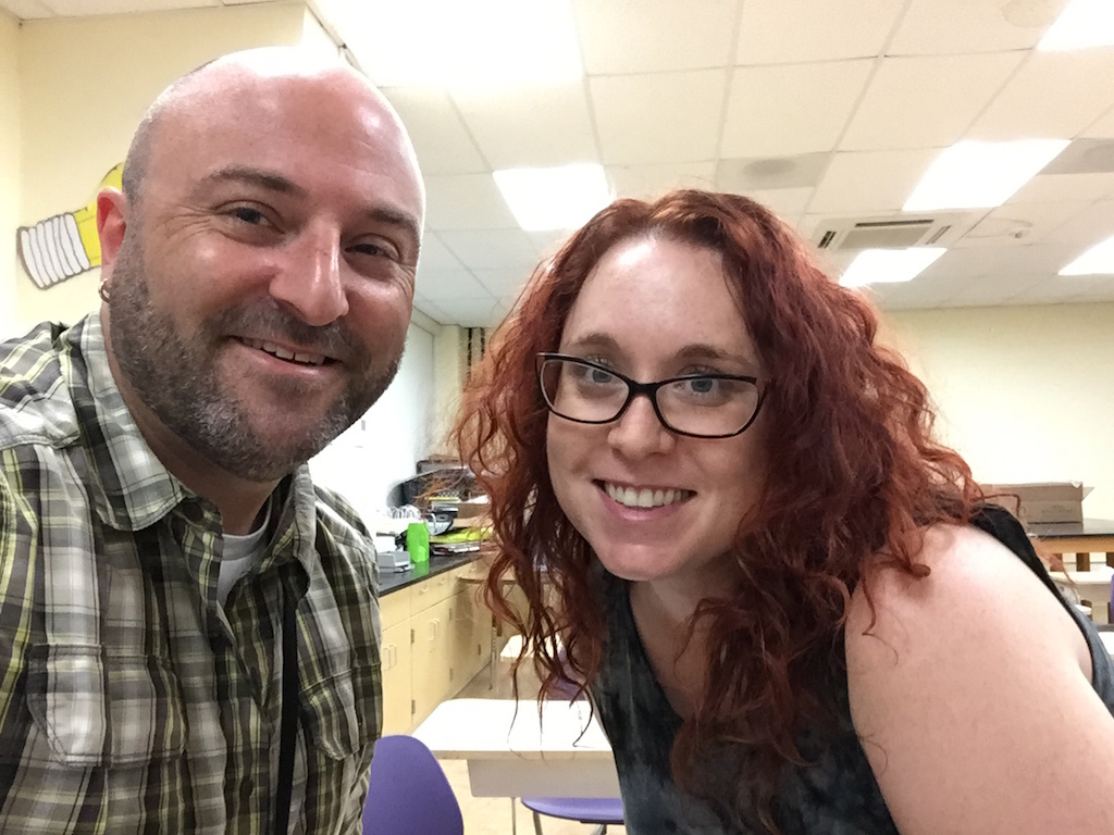 Sarah Levine, the awesome note-taker, poses for a selfie with Drew.