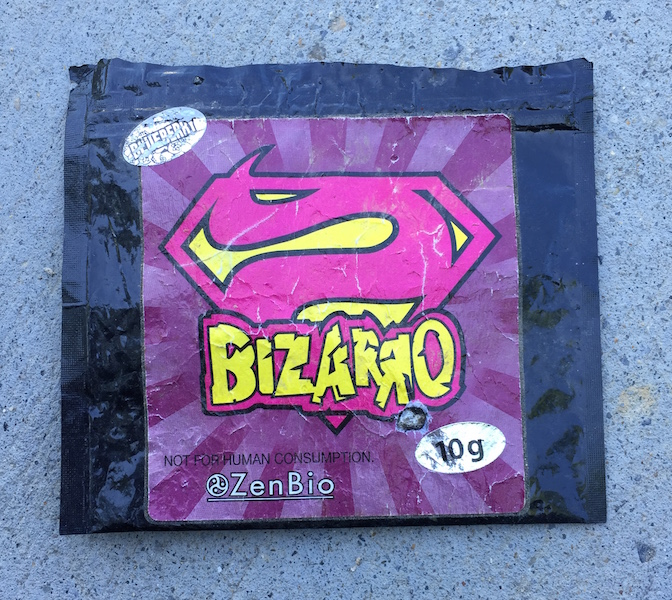 A bag of synthetic cannabinoids I found on the street in Petworth.