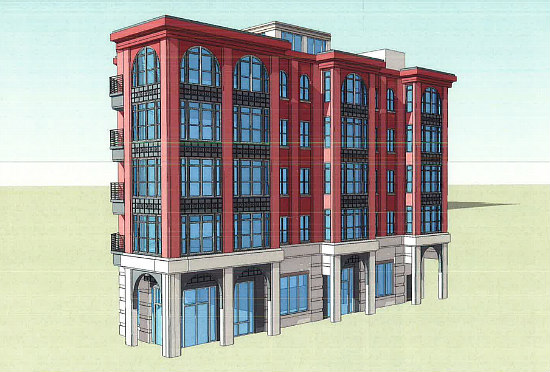 Current design for the  new 21-unit apartment building  to replace the Sweet Mango Cafe building.
