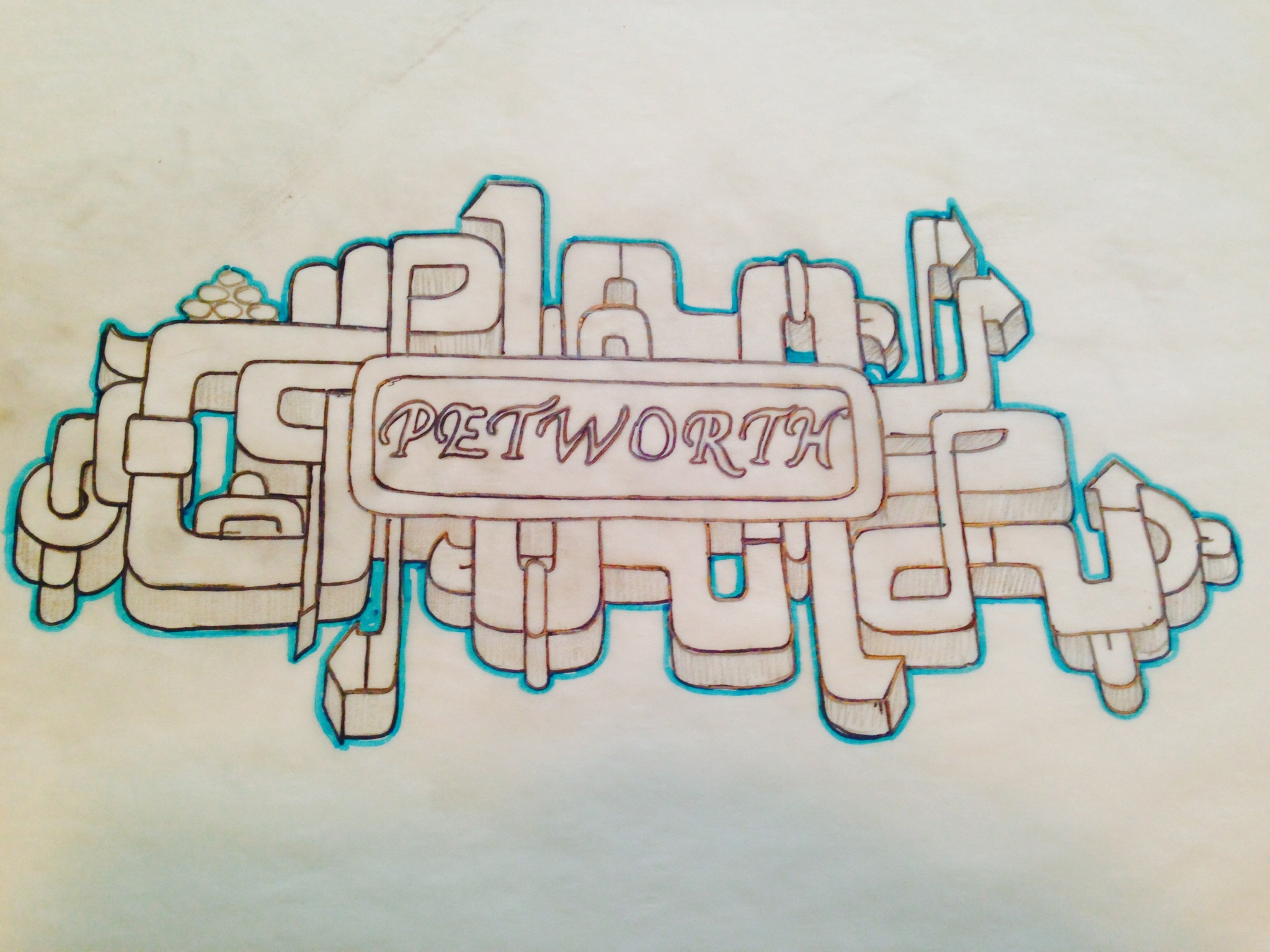 An early sketch of the logo. Courtesy  Juan Pineda .
