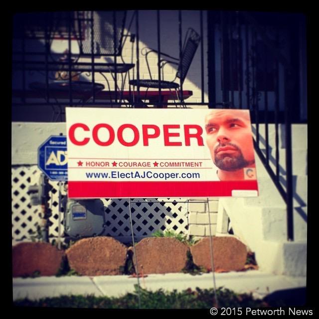 Campaign sign for AJ Cooper