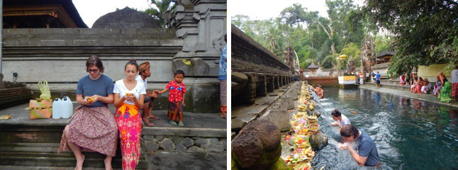 Alex and his girlfriend Isti participating in a water cleansing ceremony in Bali  (courtesy Alex McCoy)