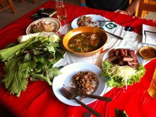 Laab, muu yang  and veggies  (courtesy Alex McCoy)
