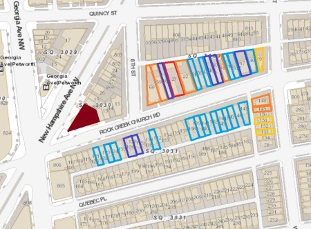 (Map key: Orange=two-car garage; Yellow=one-car garage; Red=four car garage; Dark Blue=two car parking pad; Light Blue=one car parking pad)(Courtesy of Park View DC.)