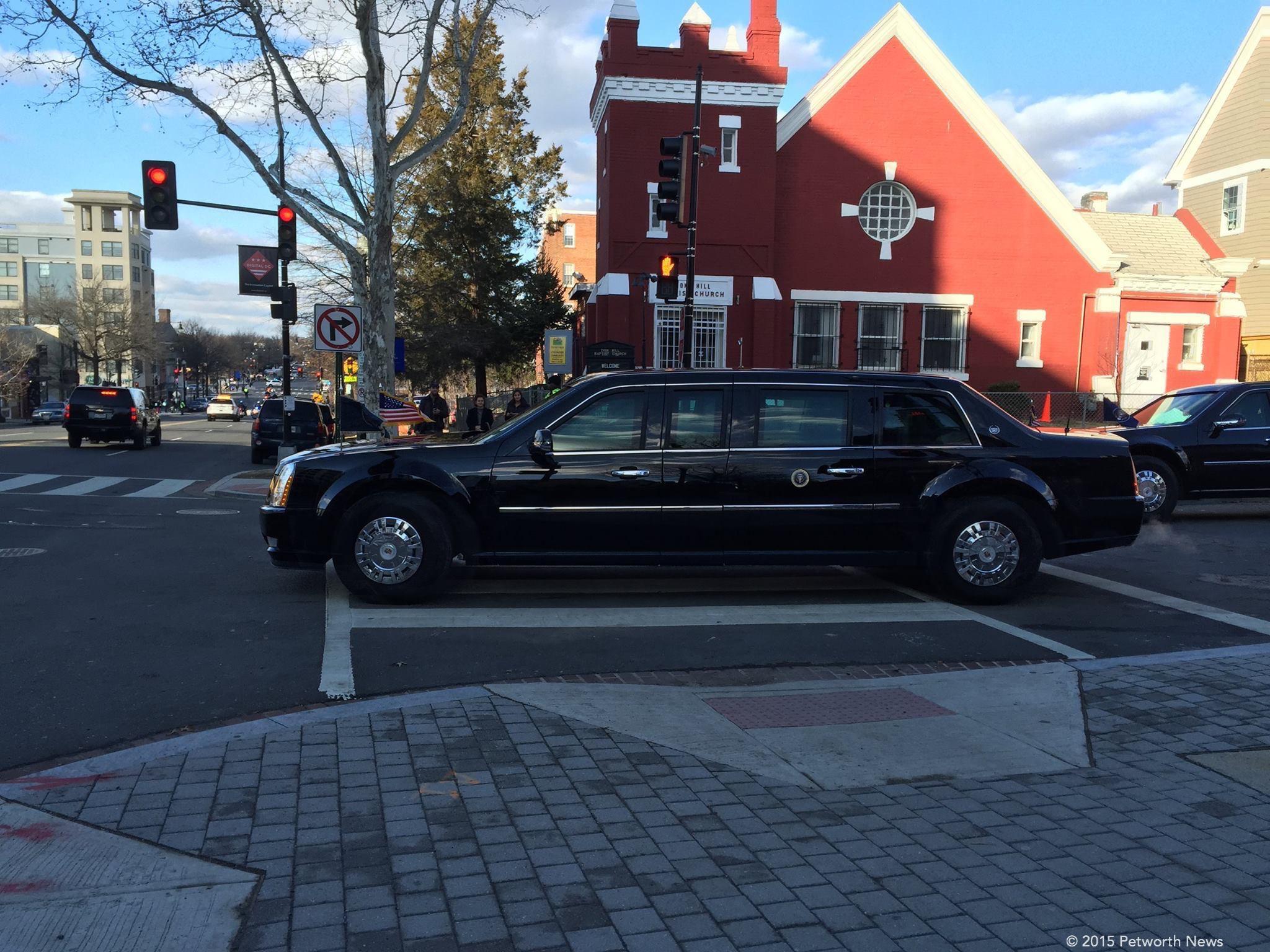 Obama leaving 801 Shepherd Street NW