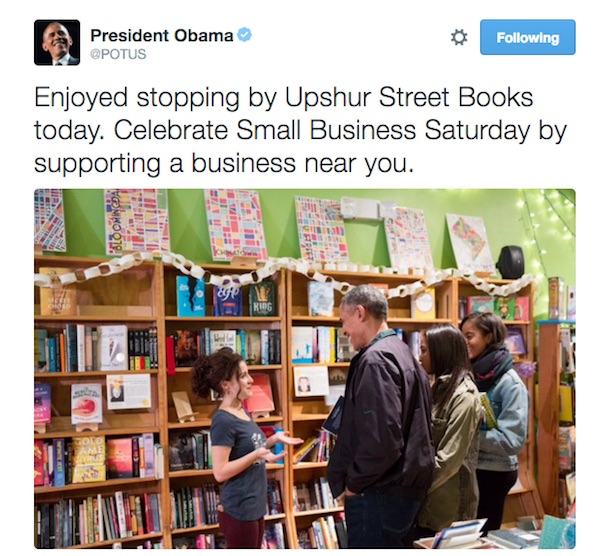 Obama's tweet  about his visit today to Upshur Street Books