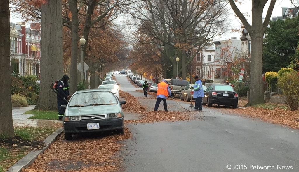 DPW employees working to clear the streets of leaves.