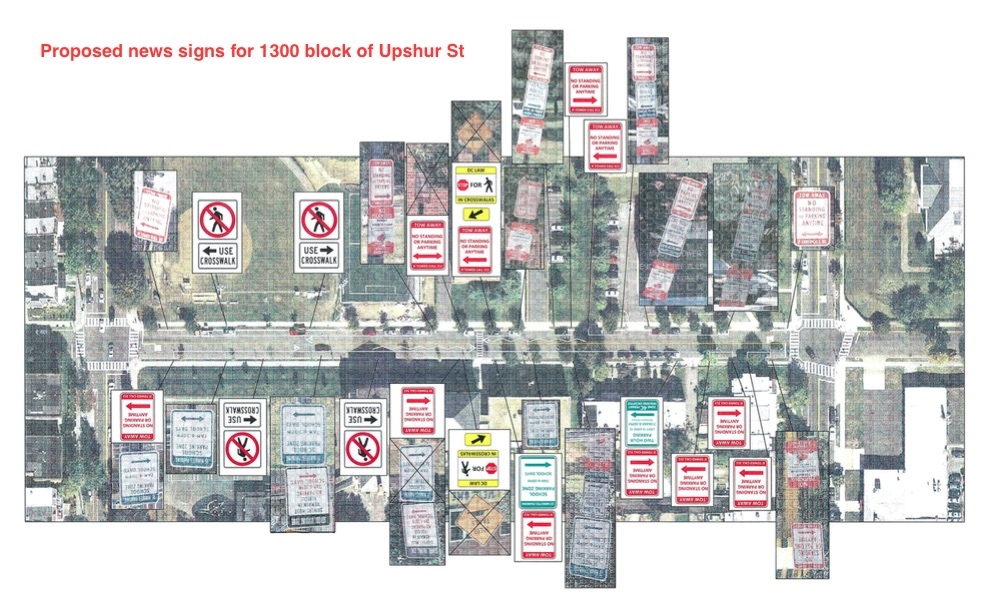 Draft of proposed new signage along the 1300 block of Upshur St (courtesy DDOT)
