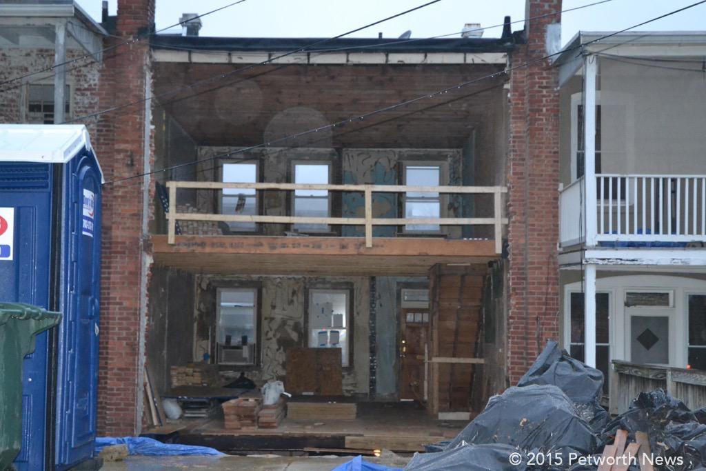 The empty shell of a Petworth rowhouse being redeveloped.