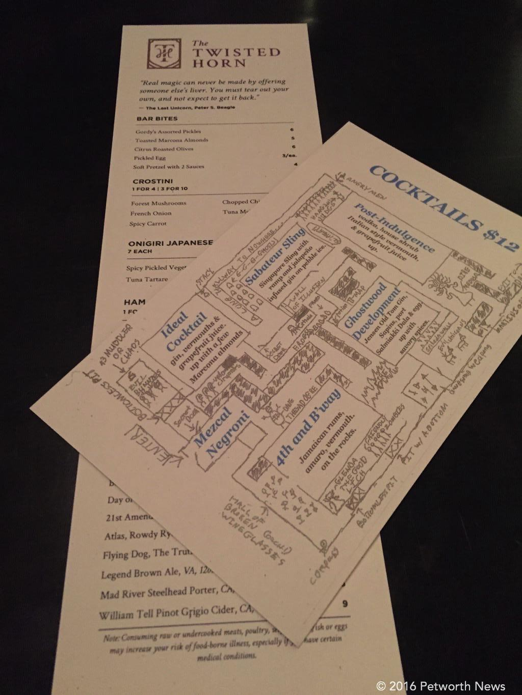 The cocktail and food menus.