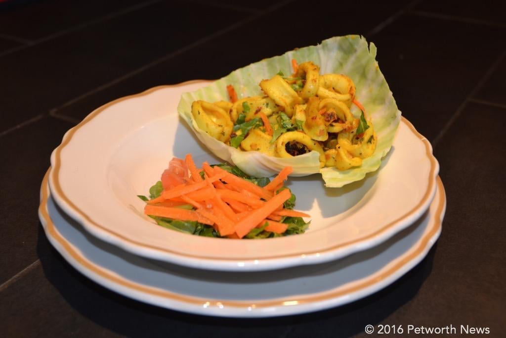 Garlic Chili Calamari with fresh salad