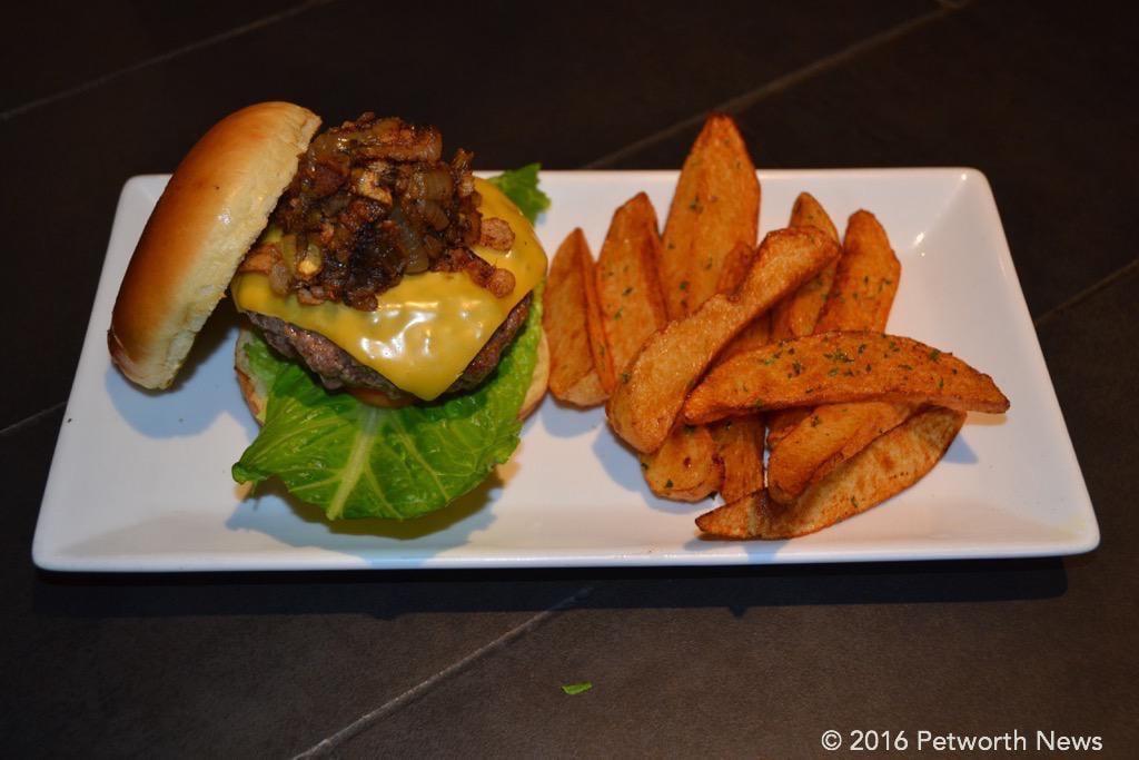 Atomic Burger with hand-cut, black sea salt seasoned fries
