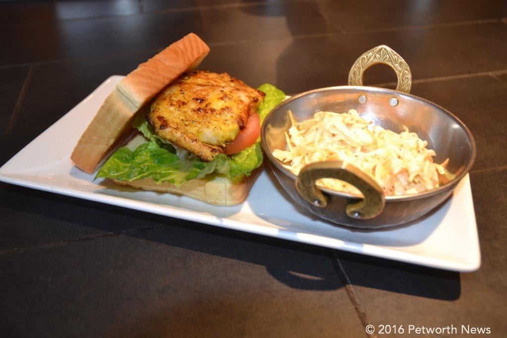 Chilean Sea Bass sandwich with coleslaw