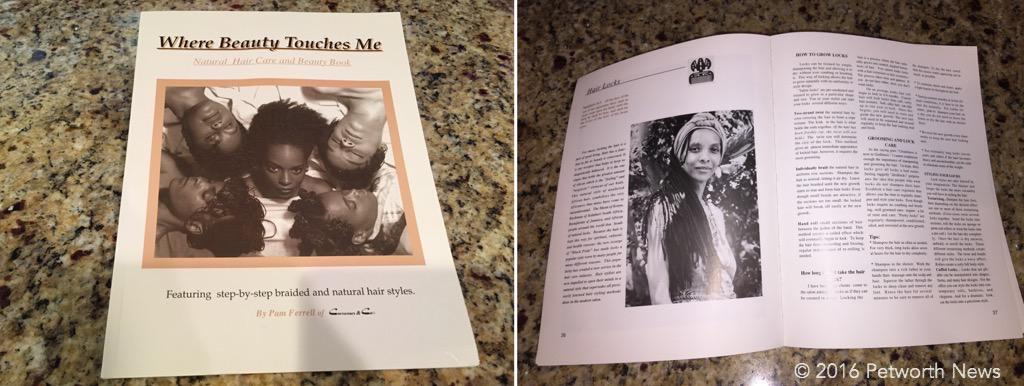"""""""Where Beauty Touches Me"""" a book by Cornrows & Co. Commissioner Uqdah gave these out at the meeting."""