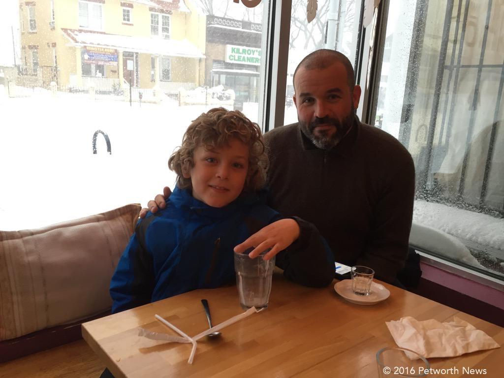 Ben Temchine and his son enjoying Domku during the Blizzard.
