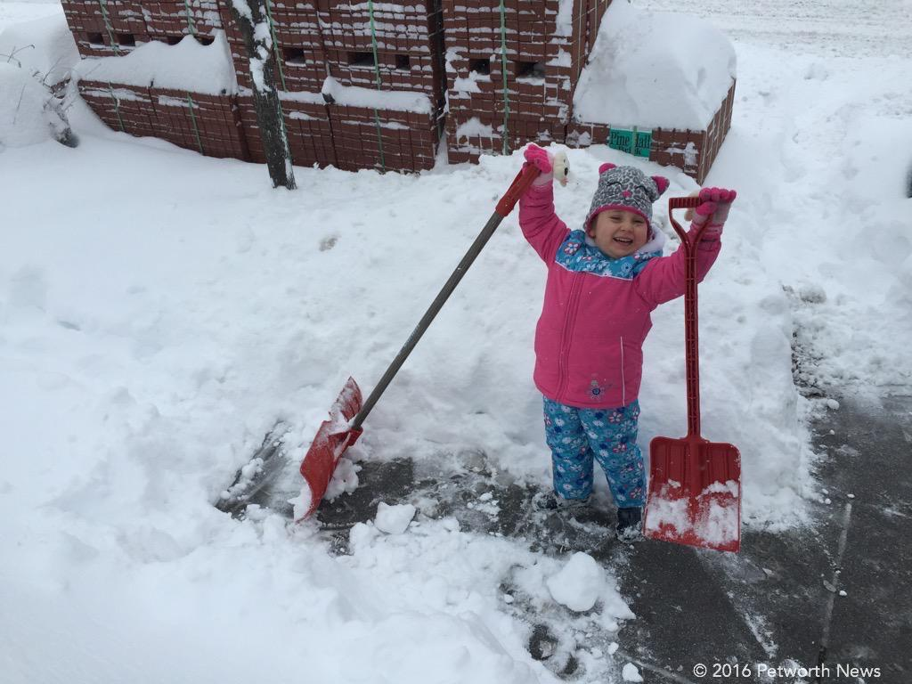 She laughs at you people using only one shovel!