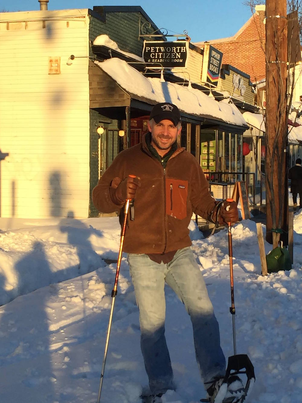 Adam Rosenberg snowshoes over from 14th Street to Petworth Citizen to enjoy a beer.