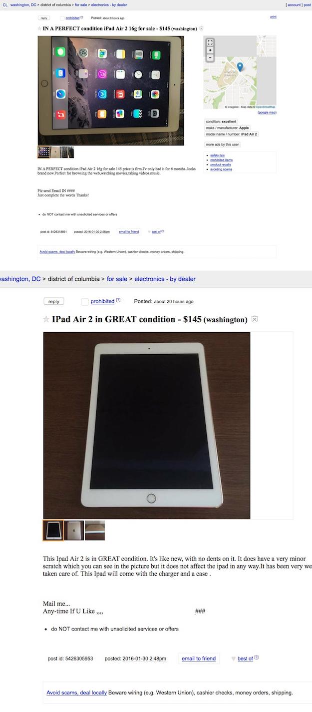 Two iPads on Craigslist... beware.