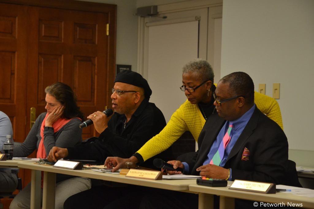 Commissioners Barry, Uqdah (speaking), ANC admin Nia Turner and Chair Galloway
