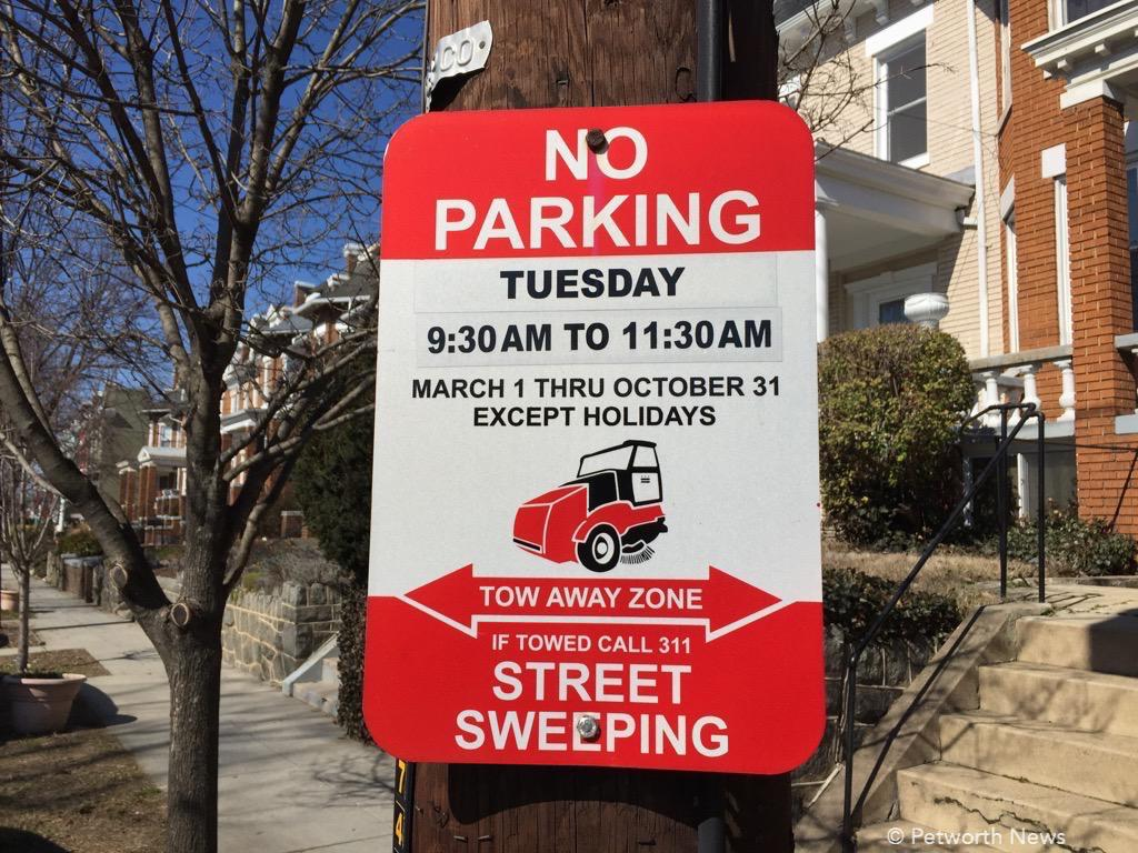 Look for one of these signs on your street to see which day is your street cleaning day.