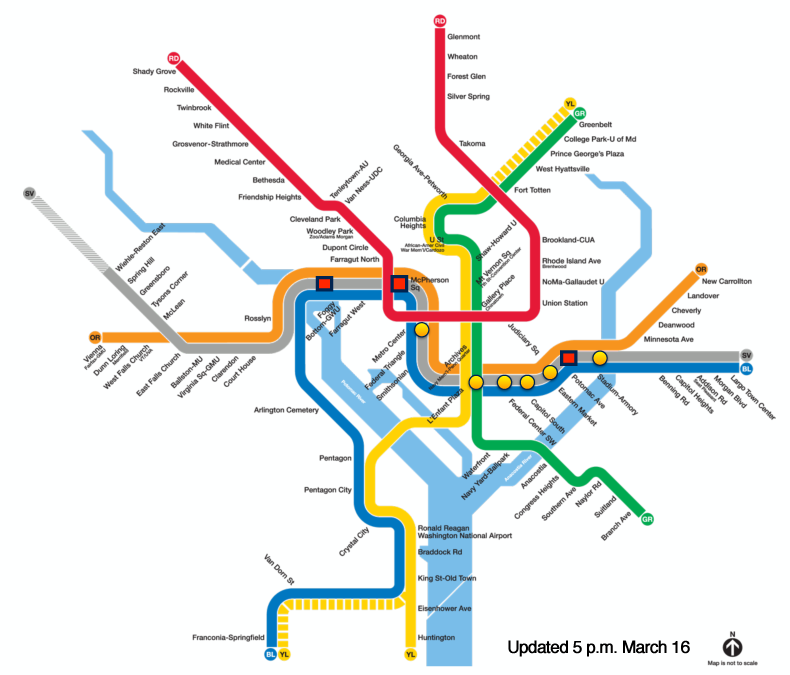 Map showing locations of defects found as of 5pm.  (courtesy WMATA) - click to enlarge -