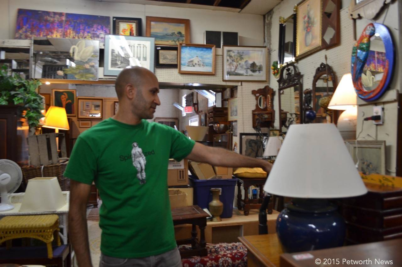 Tarek looking for the next new thing at Mom N Pop Antiques