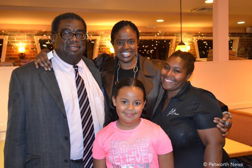 Ron Austin, with supporters Lisa, her daughter, and Neijan Boyd.