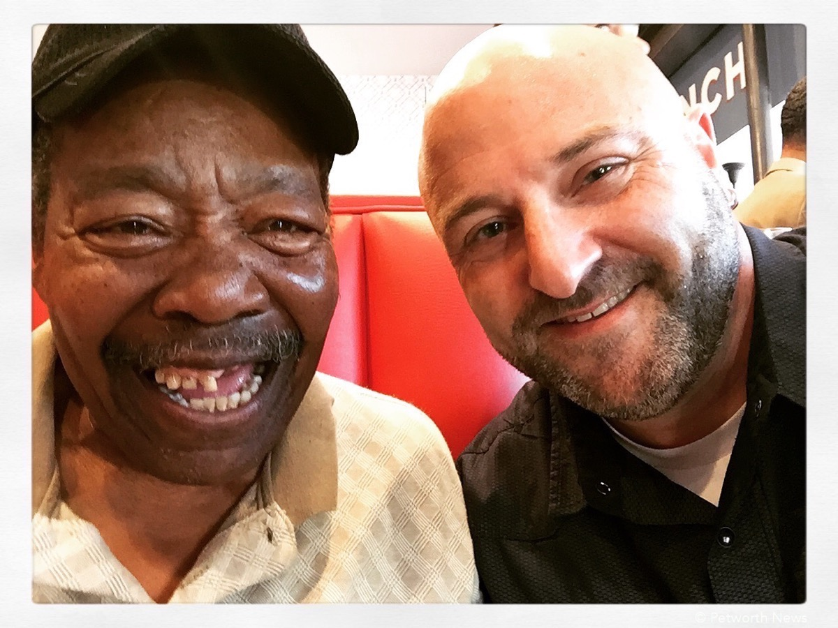 Hanging out with the original Slim, the carpenter and namesake for Slim's Diner. June 29, 2016.