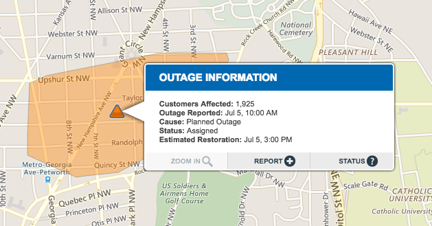 Current outage in Petworth (no pun intended) Image from  Pepco