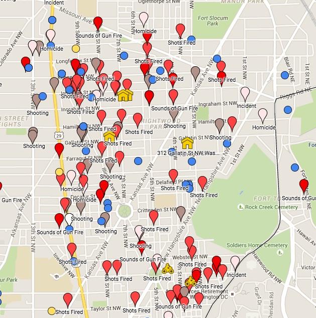 Screen shot of the gun violence map