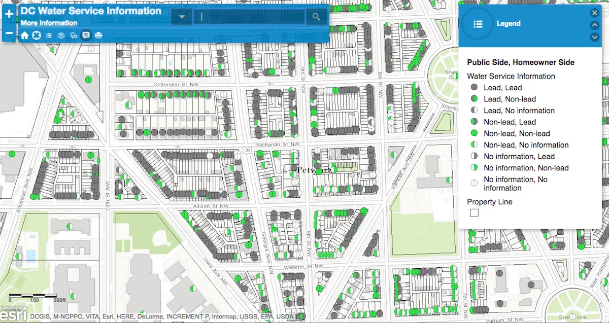 Map of lead pipes in Petworth ( DC Water )