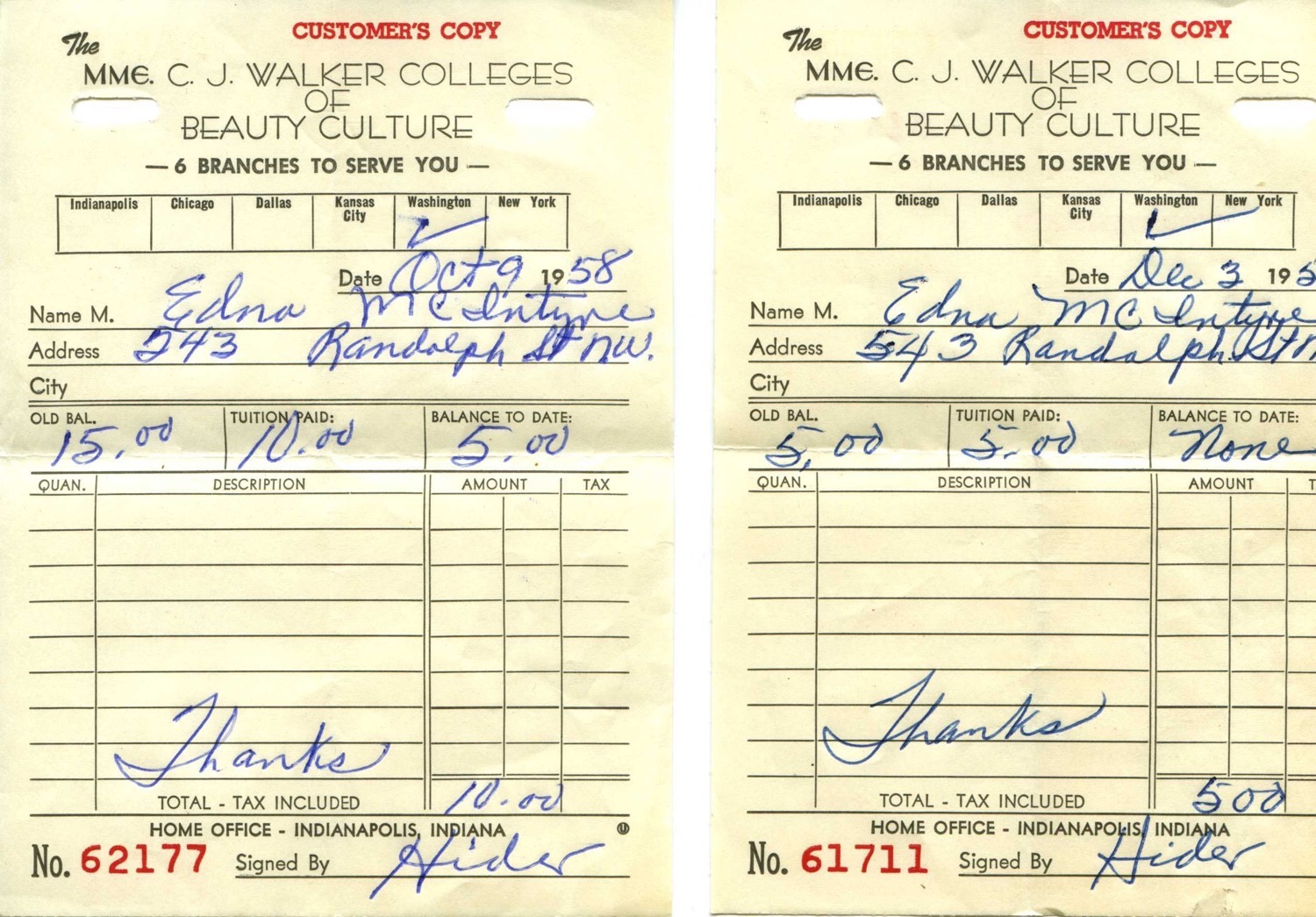 A receipt from 1958 from the Madam CJ Walker School, from Linda's collection.