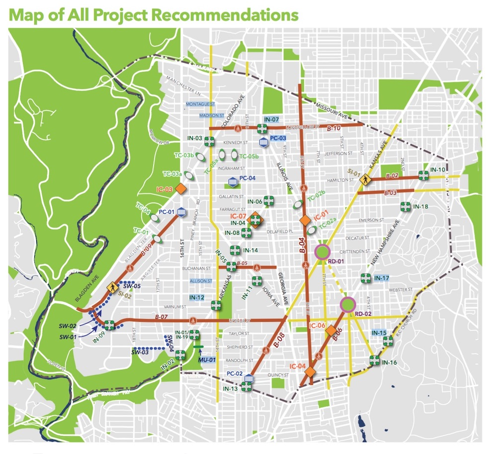 Map of the Rock Creek East II Livability study area and recommendations. Courtesy of DDOT.
