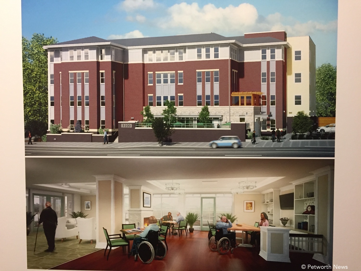 Proposed rendering of the Assisted Living building at 5100 Georgia Avenue NW