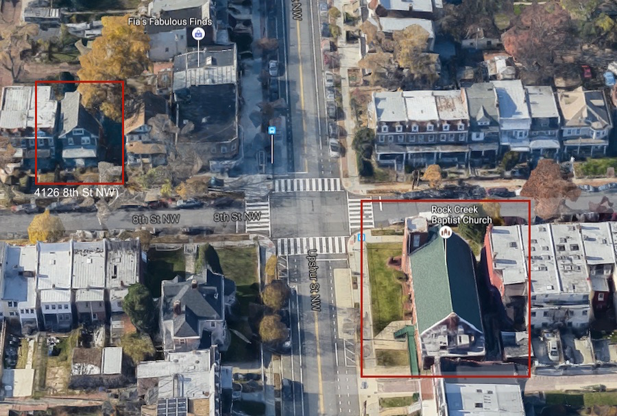 A Google Earth view of Upshur and 8th Street, with both ERB properties outlined (pre-construction)