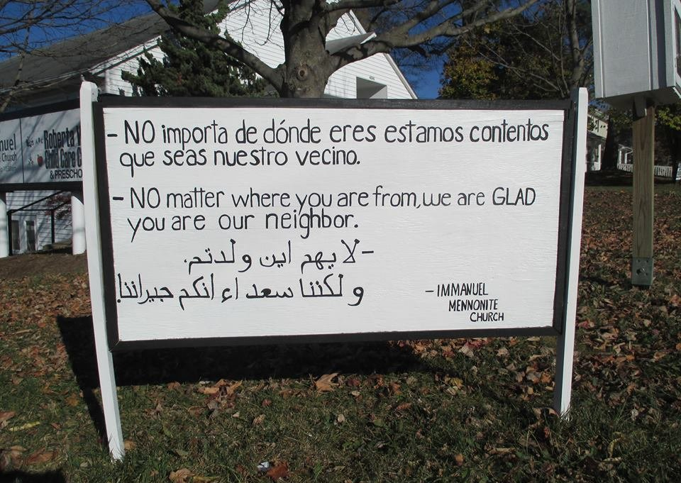 The original sign created by  Immanuel Mennonite Church  in Harrisonburg, VA. They also created the new yard signs that are being printed across the country.  More about it on NPR .