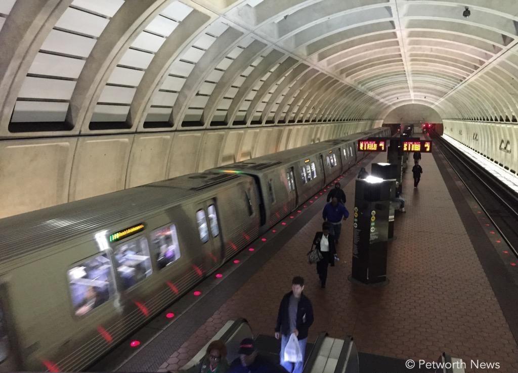 A 7000 series train leaves the Georgia Avenue / Petworth Metro station
