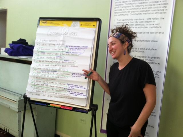 Petworth resident Caroline Cragin leading a mediation training session