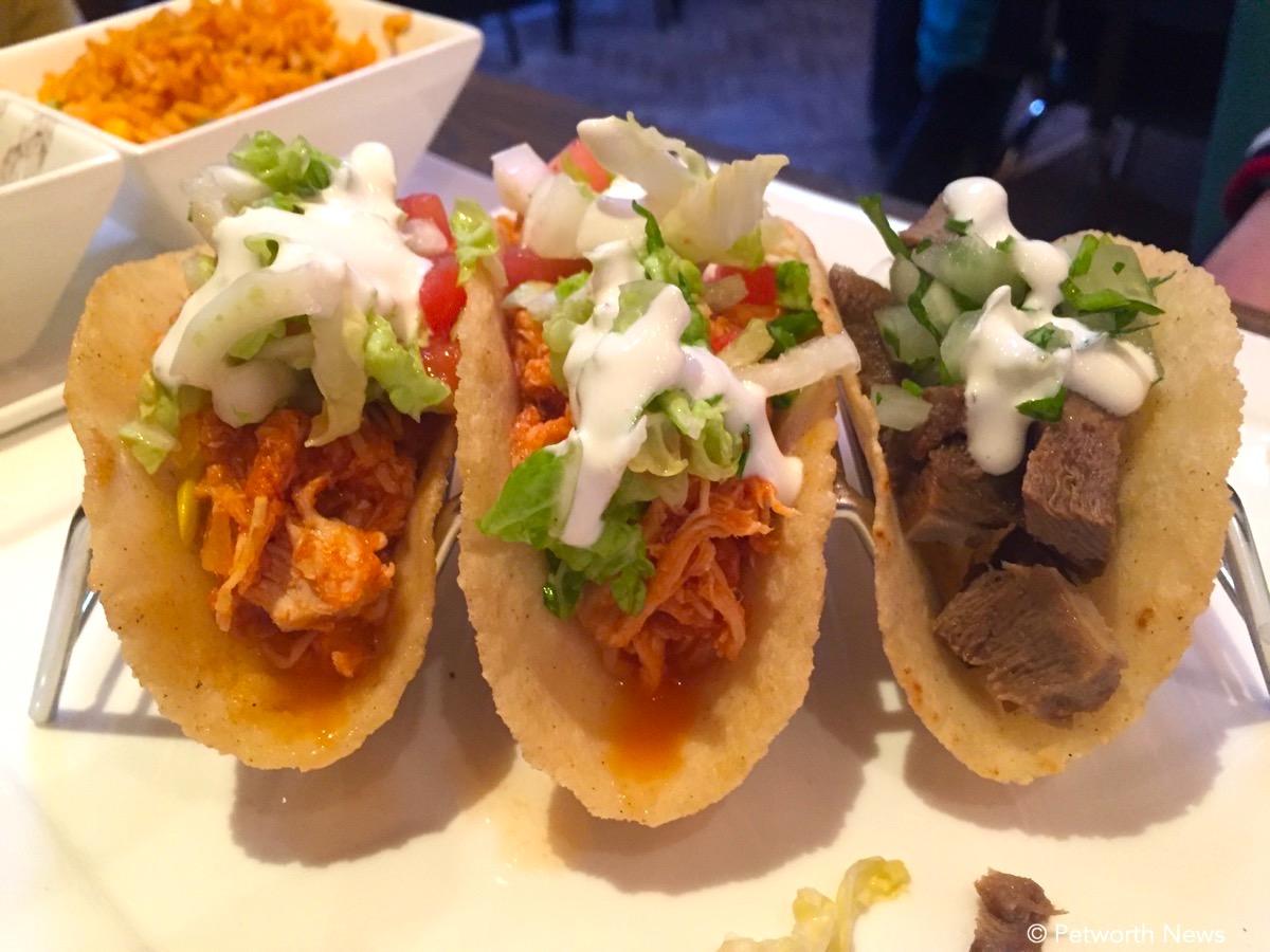 Pollo asado, al Pastor & lengua tacos