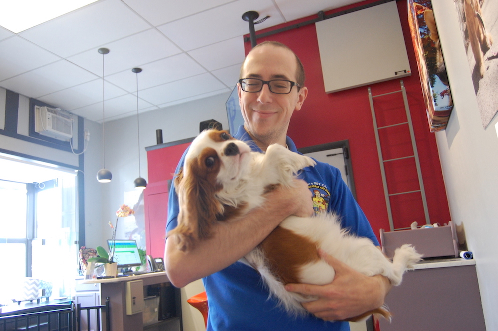 Dom, the day care manager at Patrick's Pet Care, gives Cooper some love.