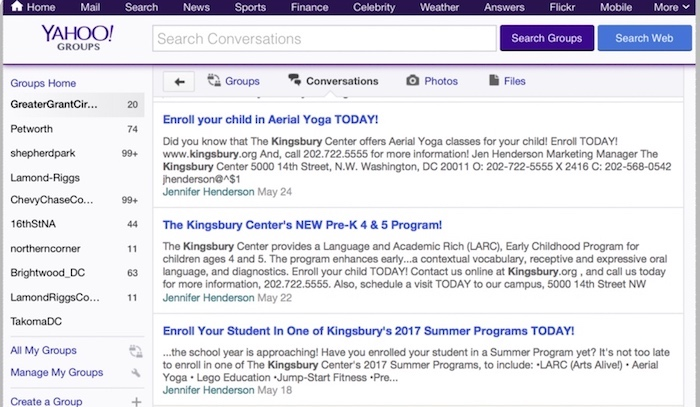 The local Yahoo listservs are a popular way of staying informed and engaged.