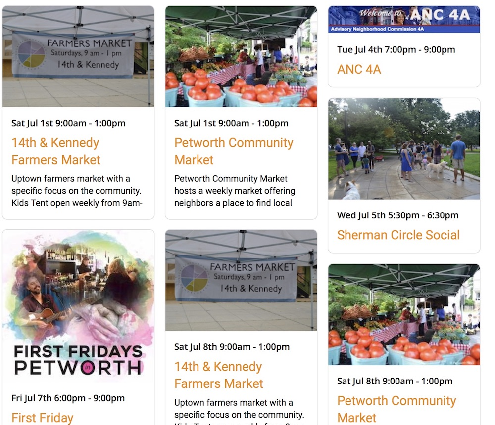 "The ""pinboard"" view of the new Petworth News Community Calendar"