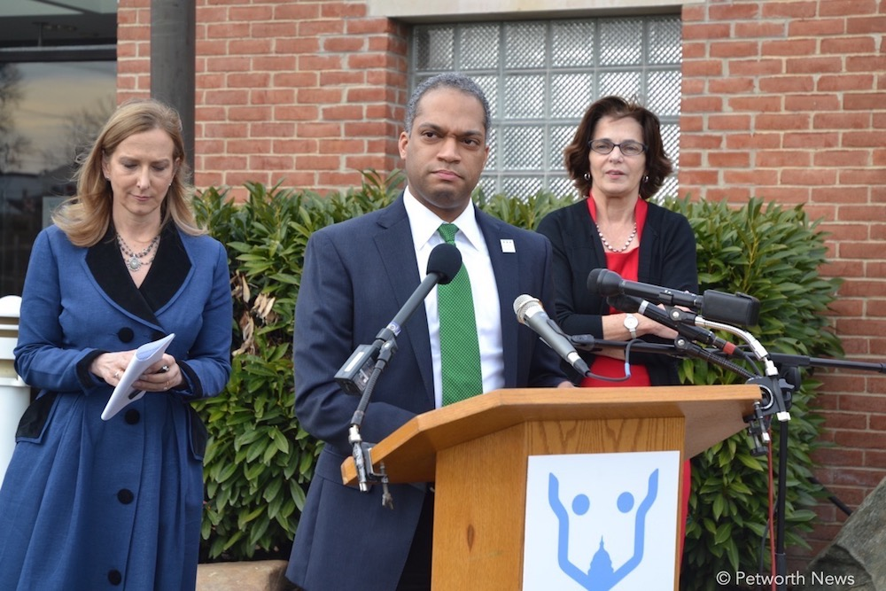 Councilmember Brandon Todd speaks at a press conference in February 2017 with Lisa LaFontaine, CEO of the Humane Rescue Alliance, and Councilmember Mary Cheh