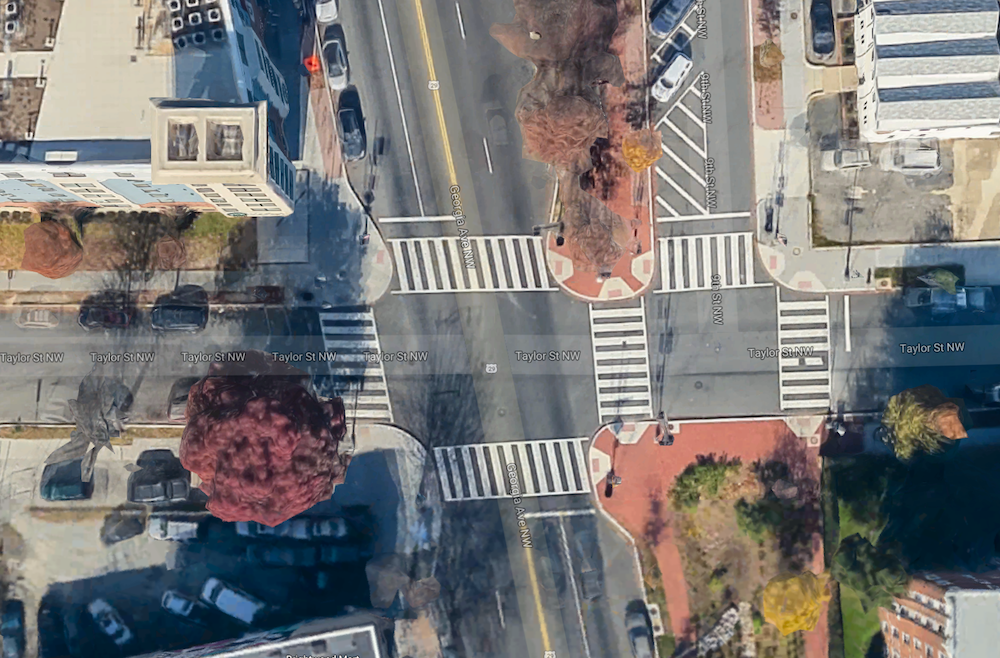 "Existing curb extensions or ""bulb-outs"" at Taylor St and Georgia Avenue NW (Image: Google)"