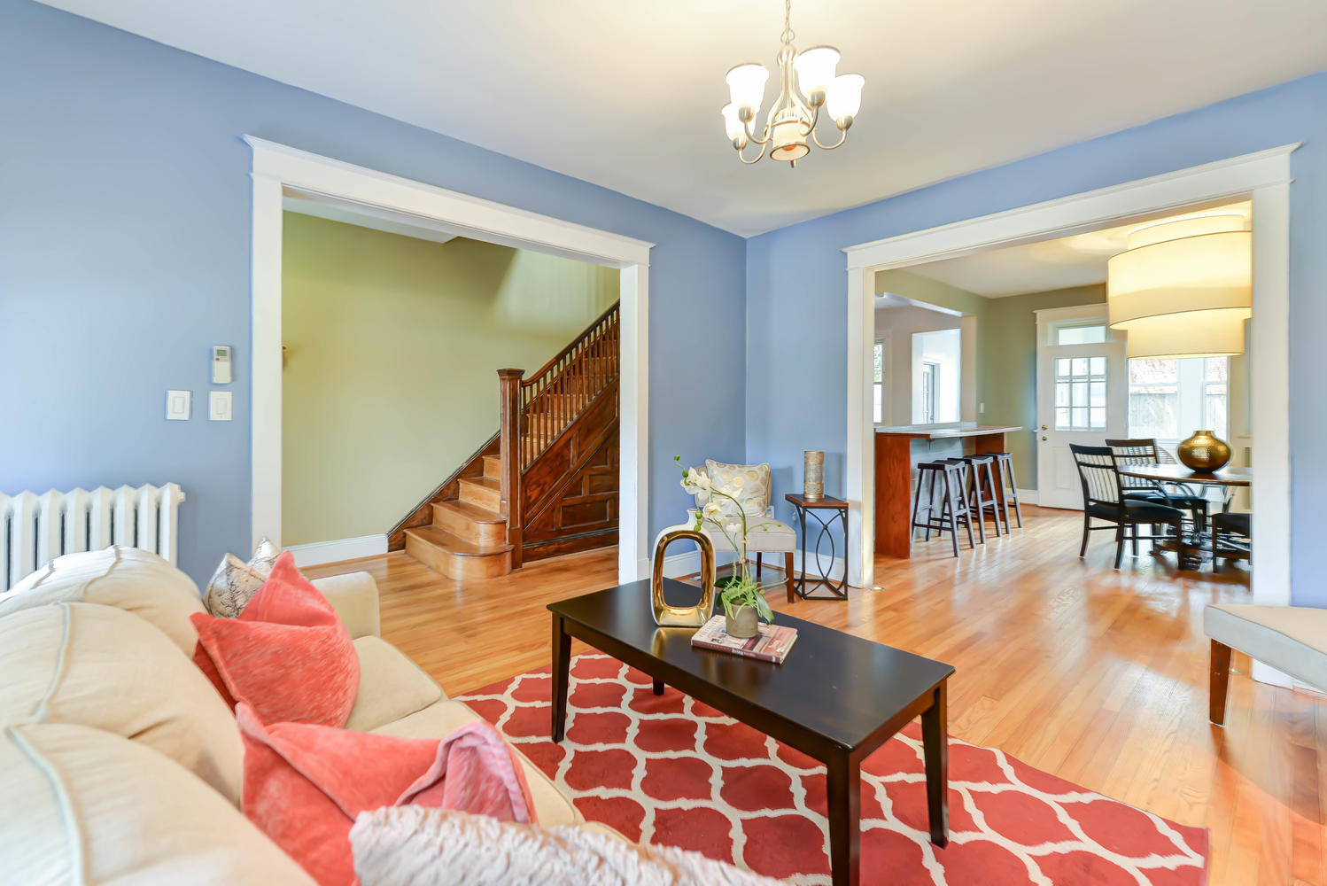 Original wood and renovated features make this Wardman rowhouse a wonderful home.