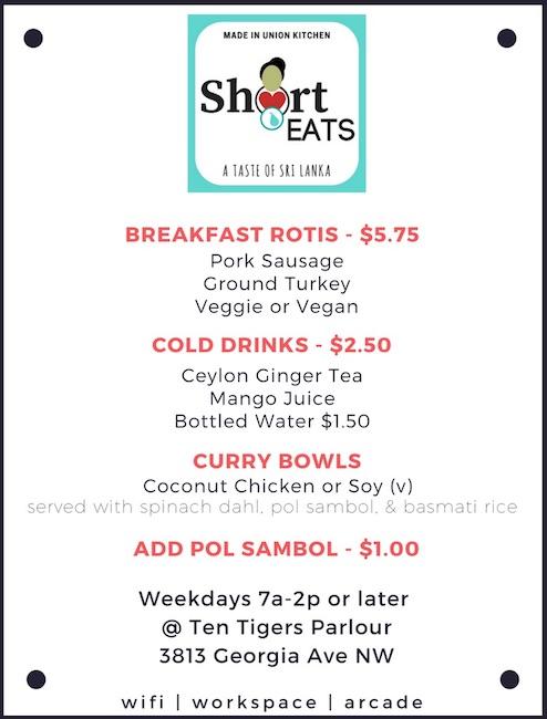 Short Eats menu