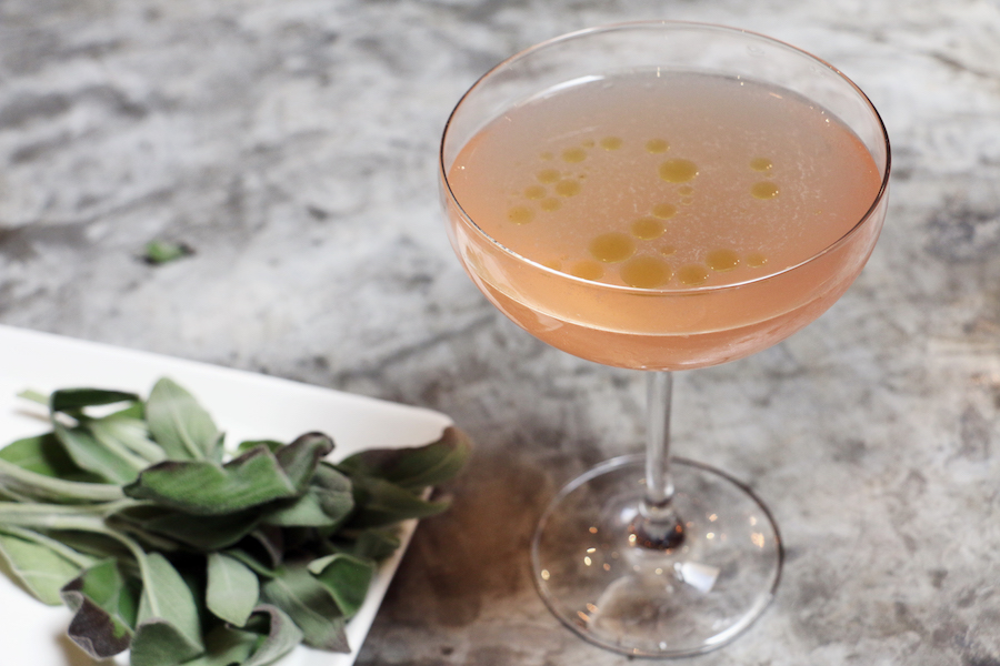 """""""Como La Flor"""" with Avion Silver tequila, chamomile tea, Sloe gin, lime, and sage-infused olive oil.(photo:Jai Williams)"""