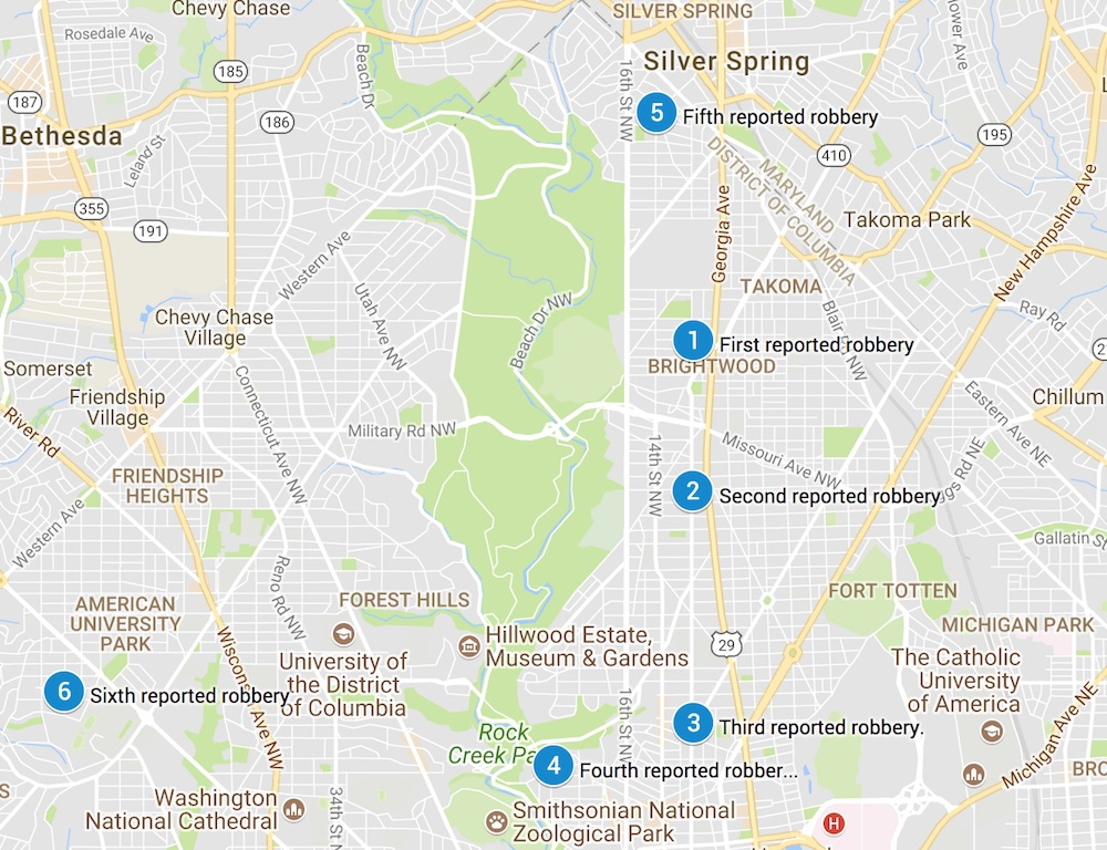 A spree of armed robberies from around the area.