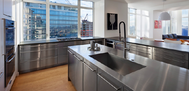 A stainless steel countertop (photo: Marc Dosik)