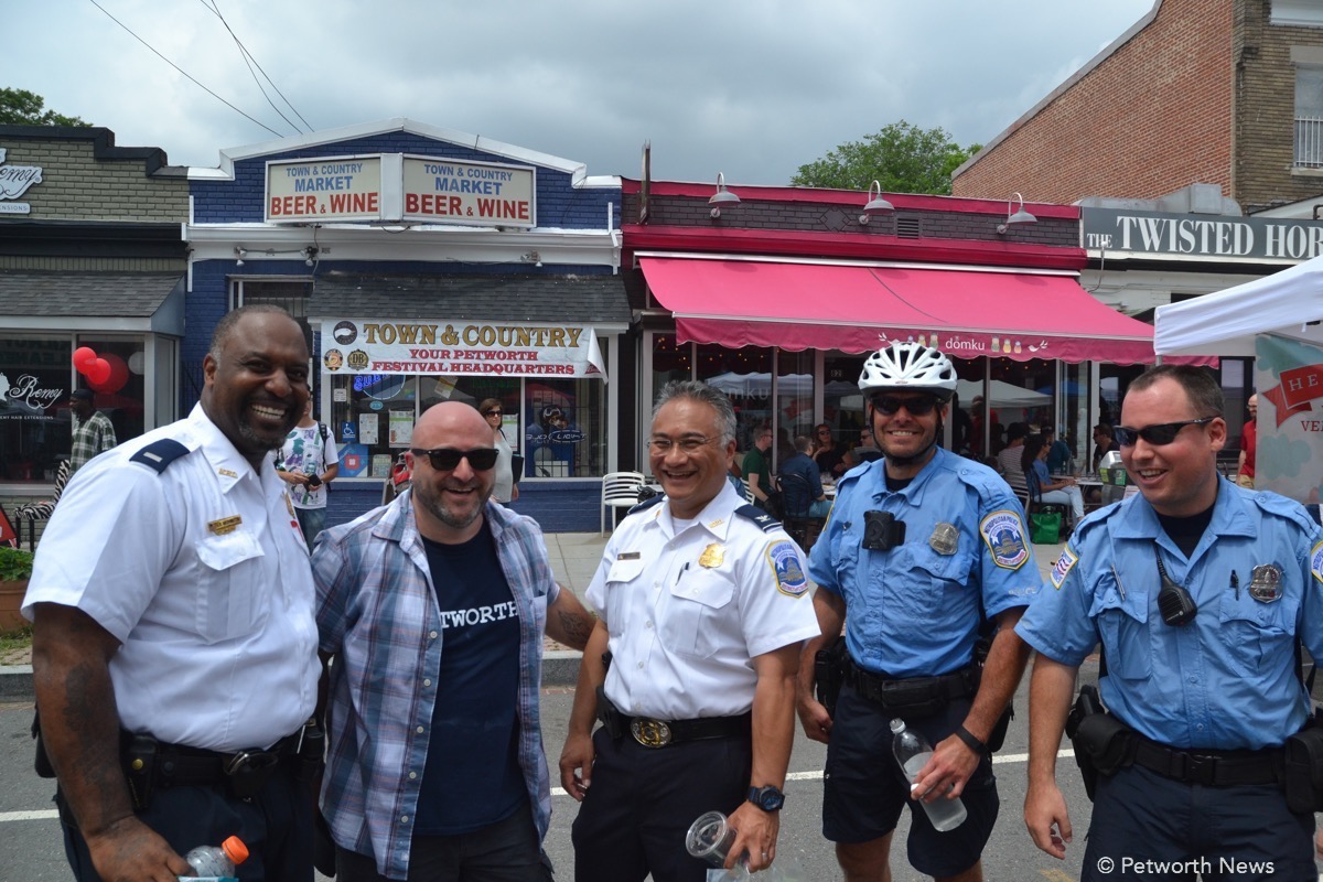 PSA 407 Lieutenant Anthony Washington, Drew Schneider, Assistant Chief Manlapaz, Officer Eric Frost and Officer Chris Glasscock at the 2016 Celebrate Petworth Festival